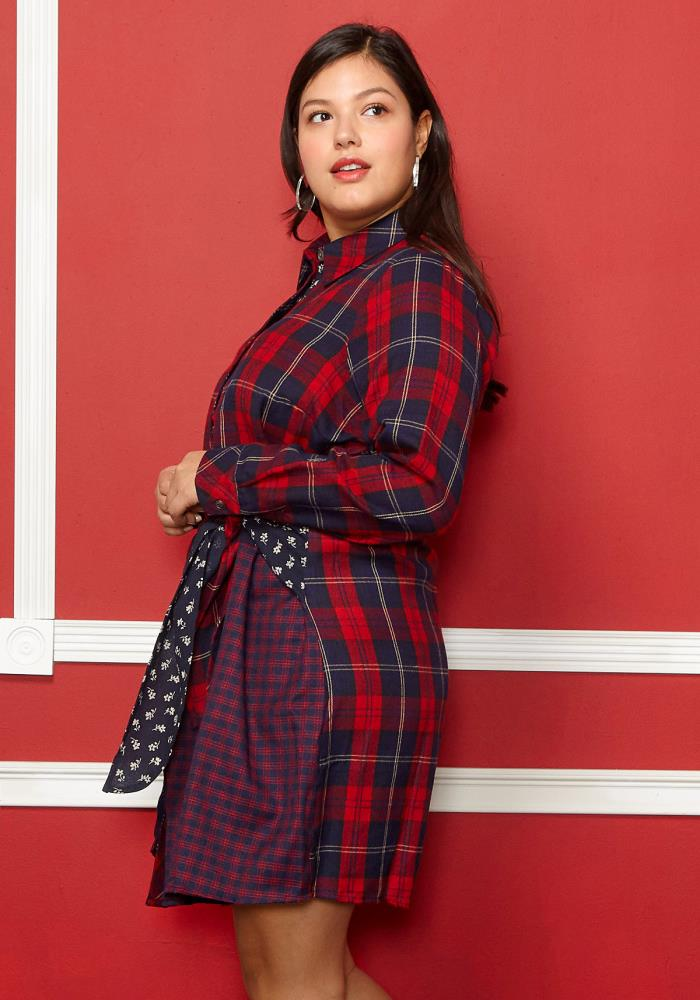 b4ab19c3fdf Asoph Plus Size Check Tie Front Shirt Dress