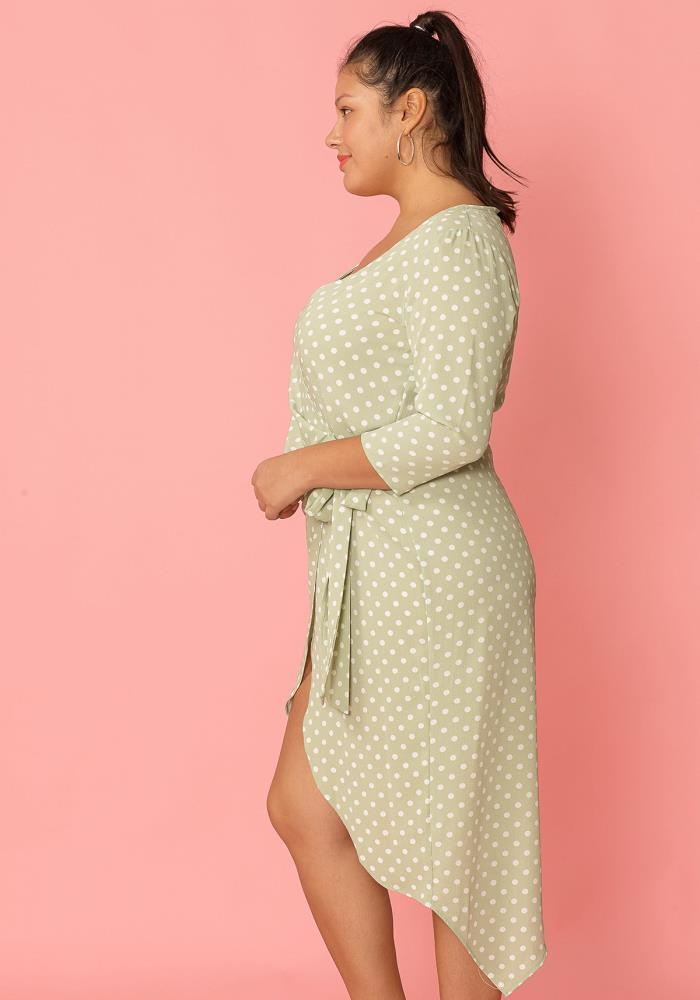f86ccacffc Asoph Plus Size Polka Dot Wrap Dress