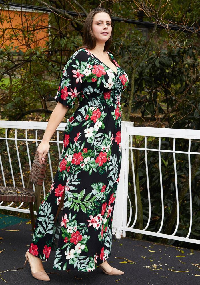 Asoph Plus Size Floral Empire Waist Maxi Dress With Slit ...