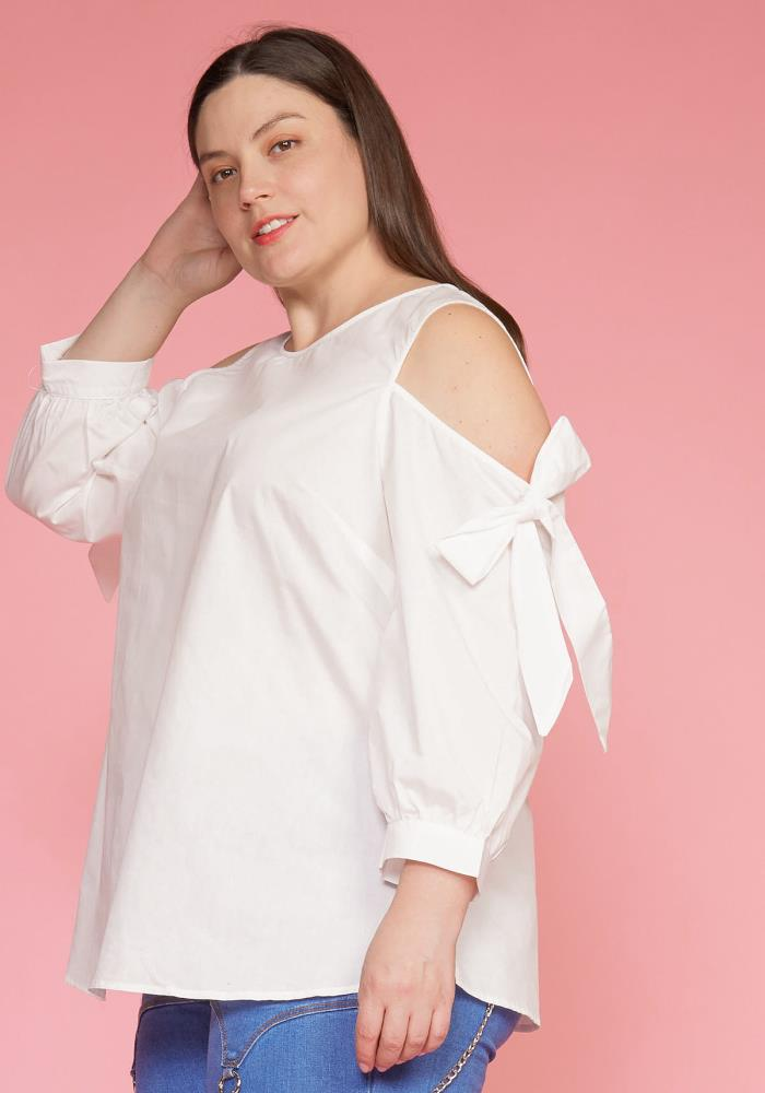 ff9efb2ca1b Asoph Plus Size Cold Shoulder Bow Sleeve Top