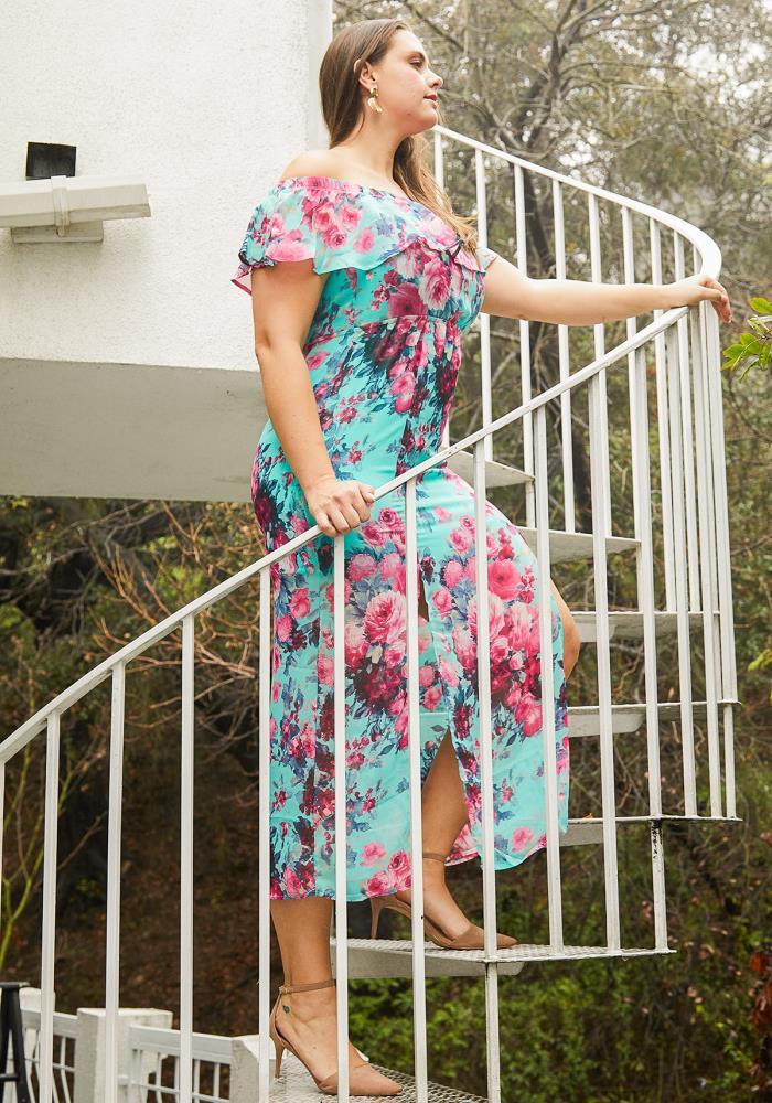 b273d5bde4a Asoph Plus Size Floral Chiffon Off Shoulder Maxi Dress