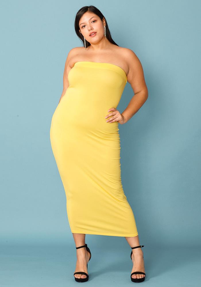 Plus Size Tube Top Bodycon Dress | Asoph.com