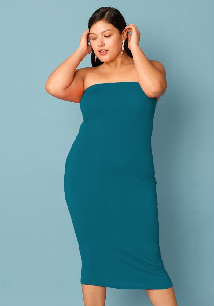 5db087ae0e1ce Plus Size Tube Top Bodycon Dress | Asoph.com