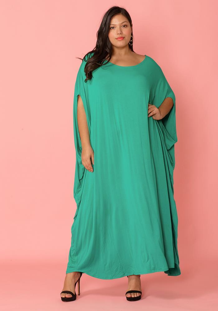 Plus Size Batwing Sleeve Maxi Dress | Asoph.com