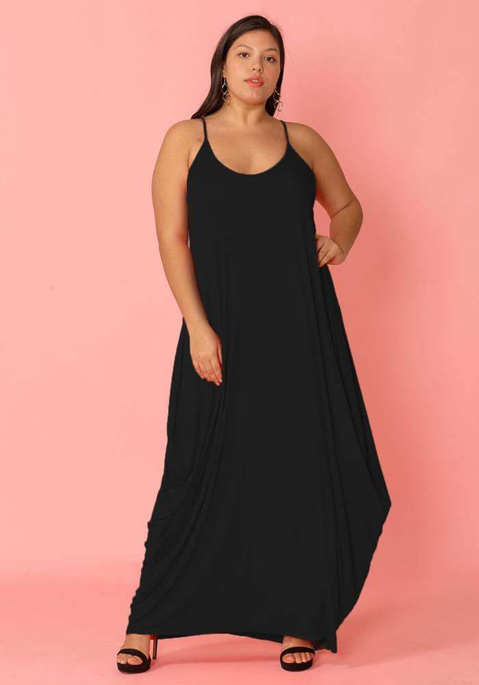 Plus Size Drappy Solid Tank Maxi Dress | Asoph.com