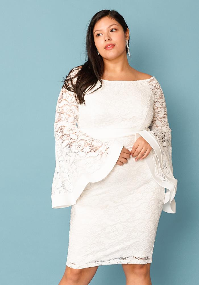 Plus Size Lace Off Shoulder Party Dress | Asoph.com