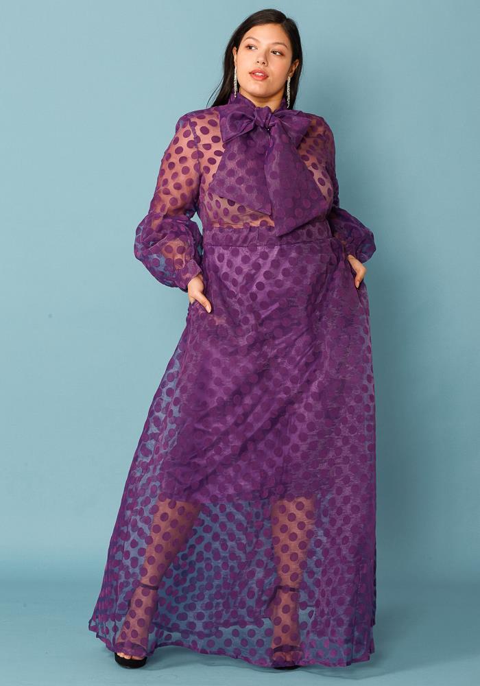 Plus Size Sheer Polkadot Bow Front Maxi Dress   Asoph.com