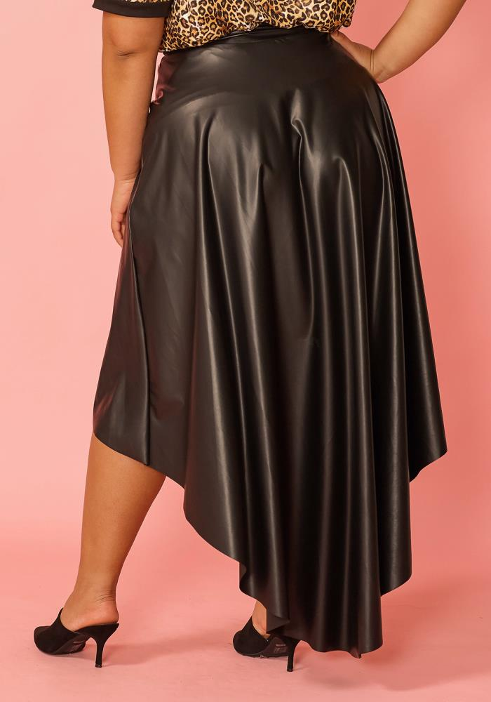aa71630a6cc Asoph Plus Size Hi-Lo Pleated Faux Leather Skirt