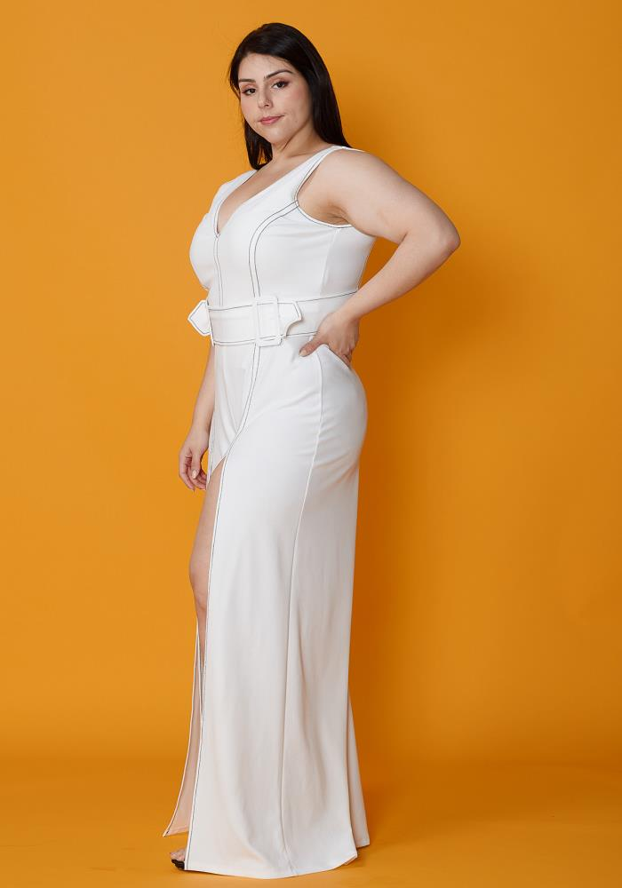 71d72b6aa1e Asoph Plus Size Slit Hem Jumpsuit With Belt
