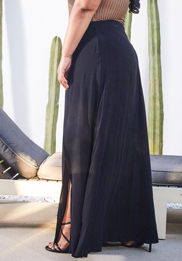 2dfa4cd1c69 Asoph Plus Size Slit Hem Black Maxi Skirt