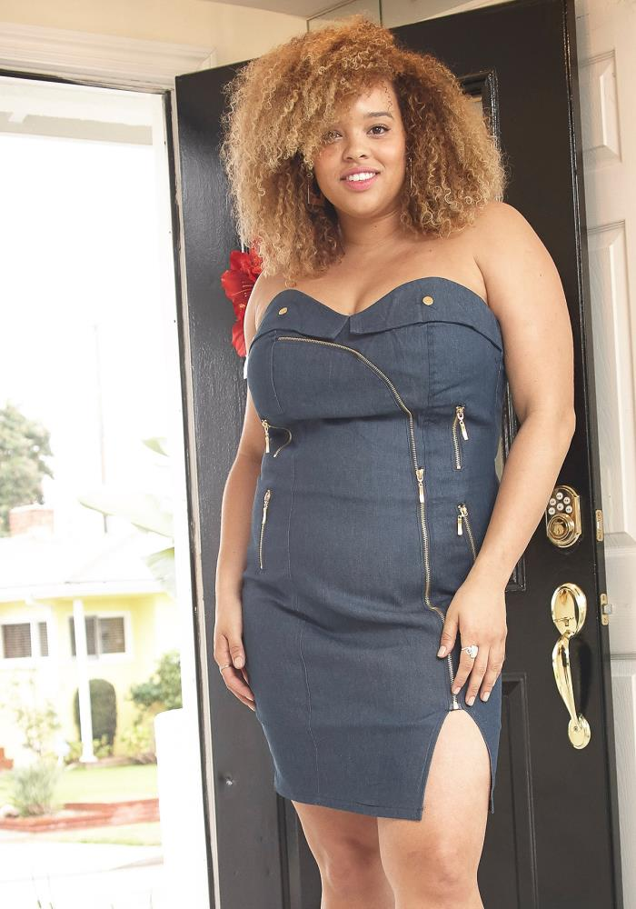 d793884c3f Asoph Plus Size Zip Up Tube Top Denim Mini Dress