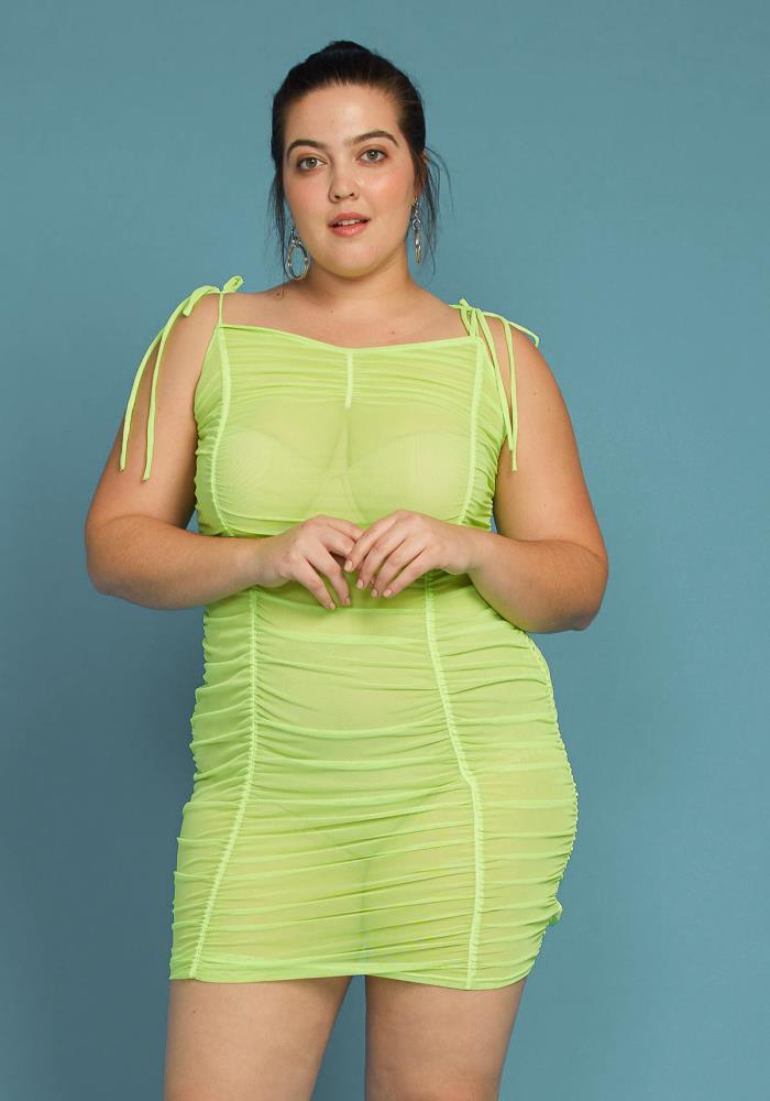 Asoph Plus Size Ruched Mesh Bodycon Dress | Asoph.com