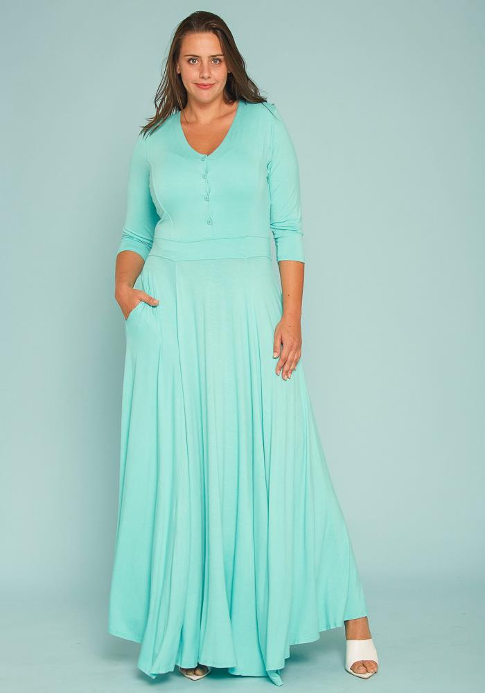 Plus Size Button Front Soft Maxi Dress | Asoph.com