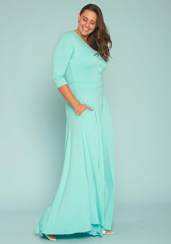 Plus Size Button Front Soft Maxi Dress   Asoph.com