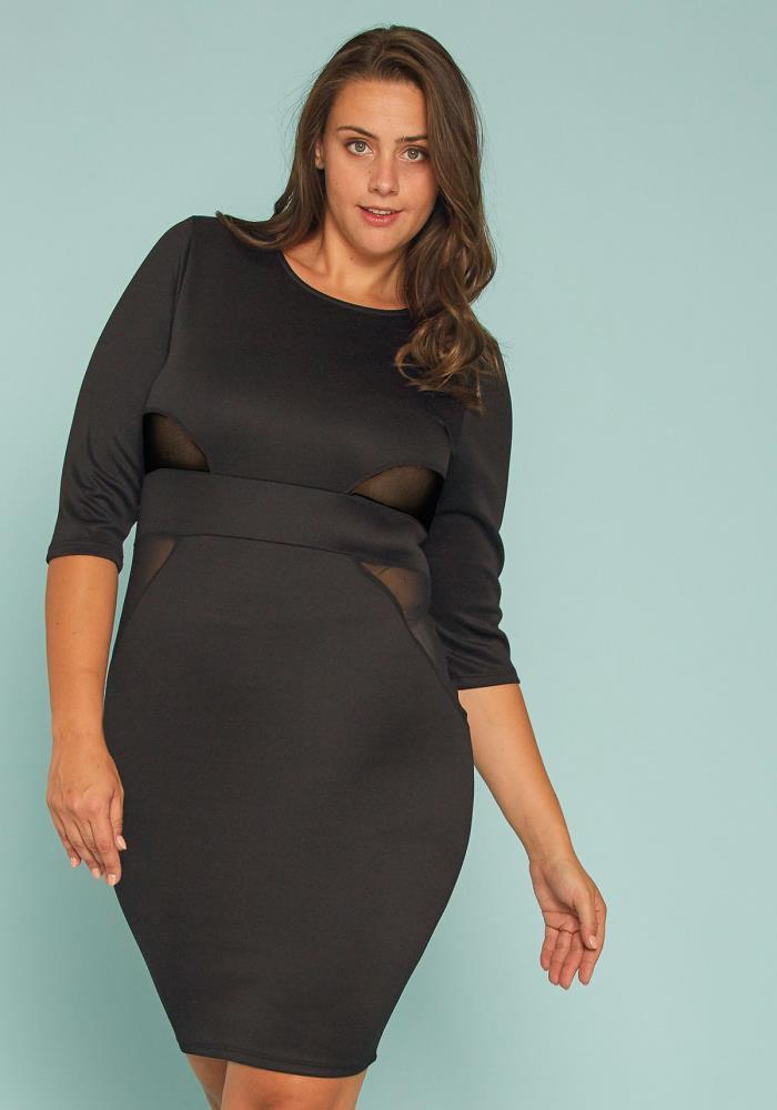 Asoph Plus Size Mesh Inset Bodycon Dress | Asoph.com