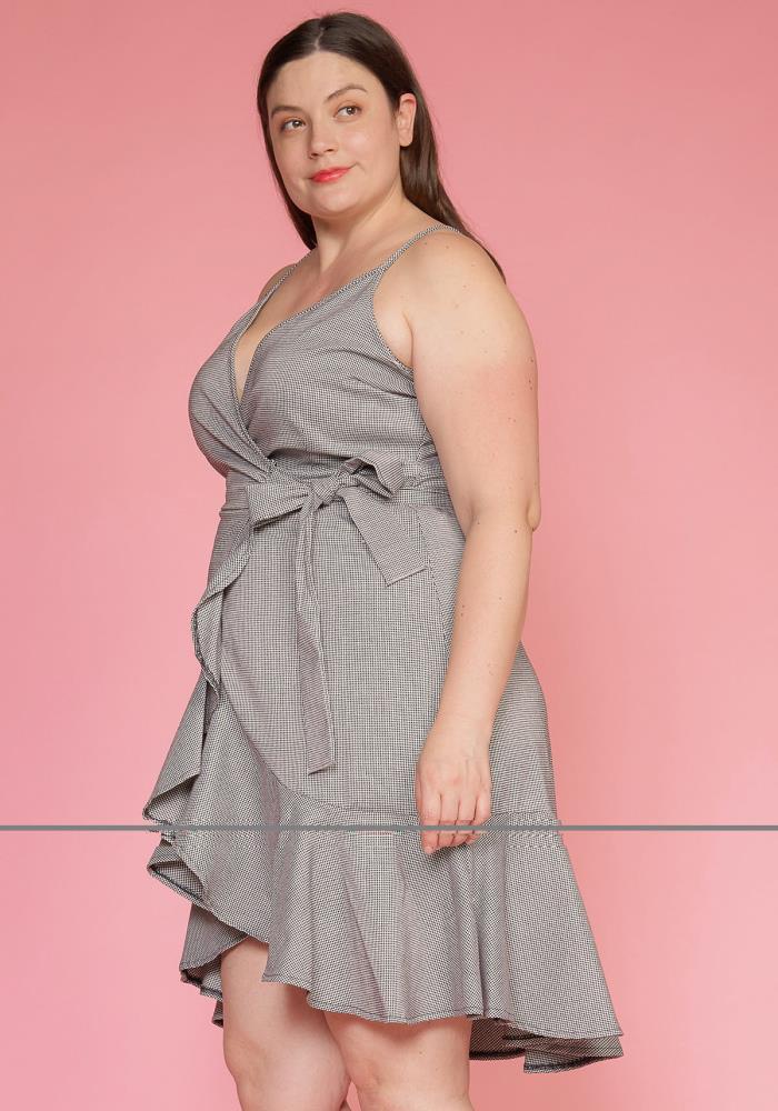 7137c8a588 Asoph Plus Size Ruffle Hem Wrap Gingham Dress