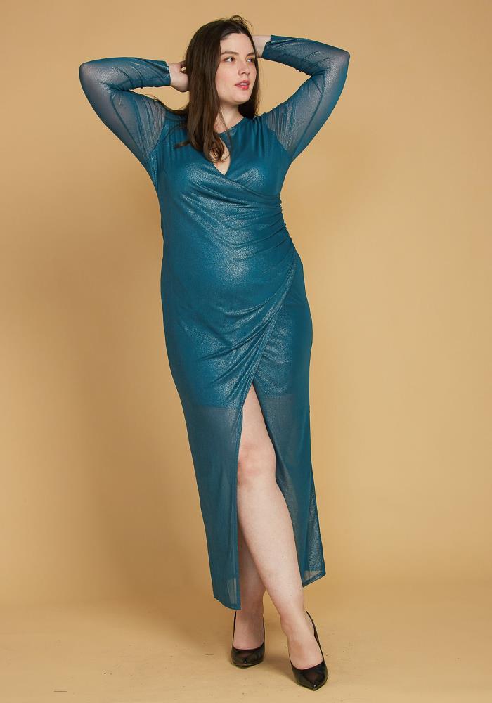 Asoph Plus Size Shiny Mesh Contrast Wrap Maxi Dress   Asoph.com