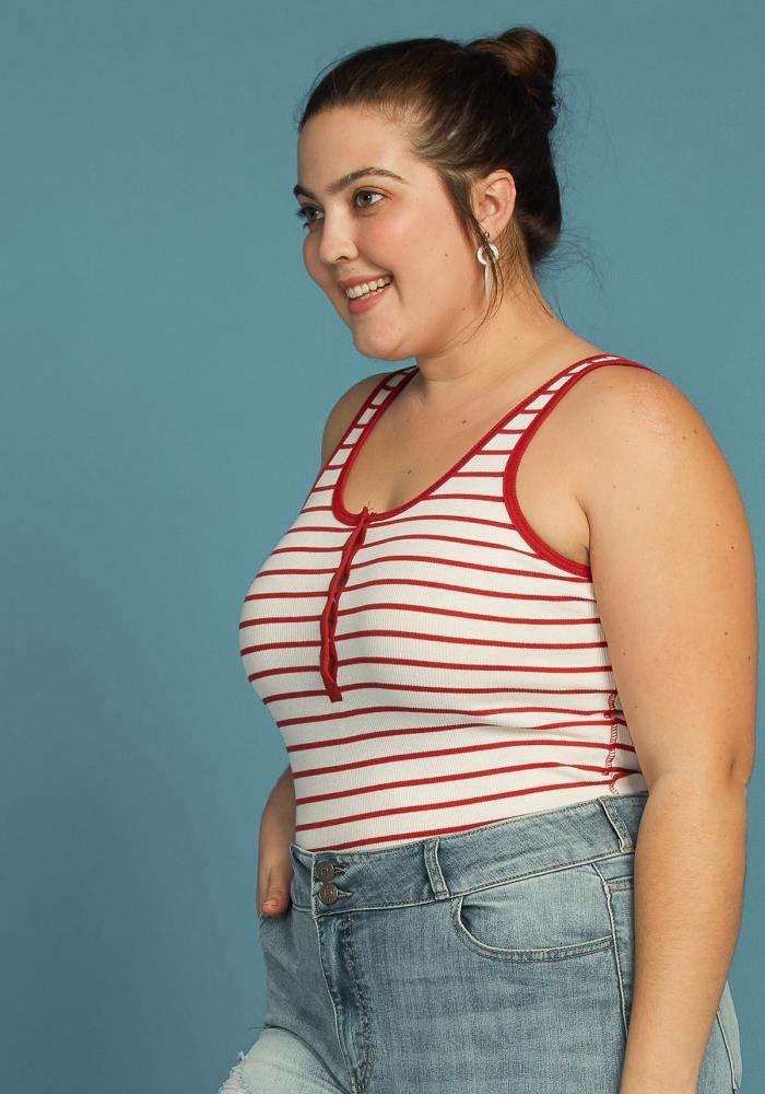 0ead4dc0 Asoph Plus Size Stripe Sleeveless Henley Tank Top | Asoph.com