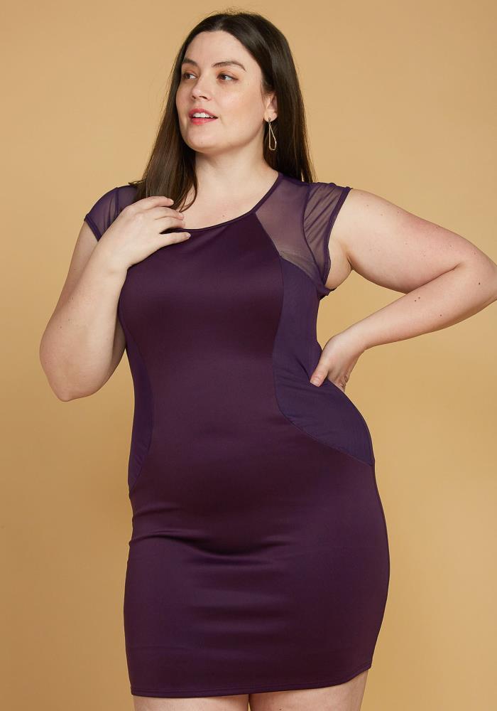 Plus Size Mesh Accented Mini Bodycon Dress | Asoph.com