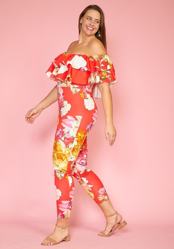 a1724e0d79b Asoph Plus Size Floral Ruffle Jumpsuit