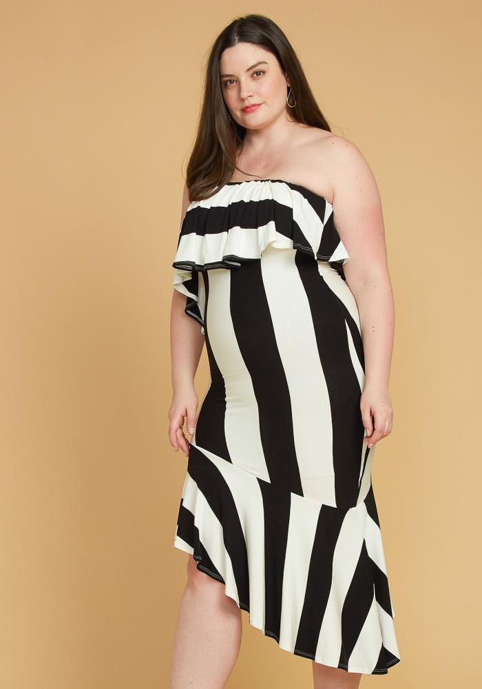 Asoph Plus Size Stripe Tube Top Dress | Asoph.com