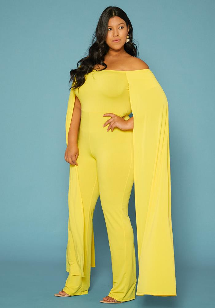 6332727cea0 Plus Size Off Shoulder Cape Sleeve Jumpsuit | Asoph.com