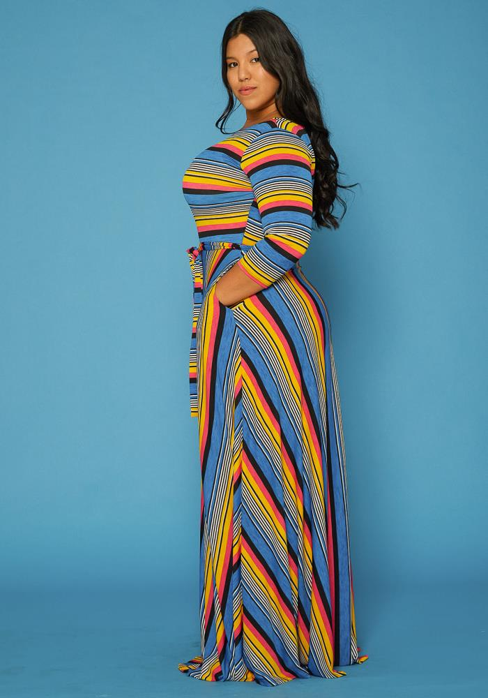 Asoph Plus Size Stripe Boho Maxi Dress | Asoph.com