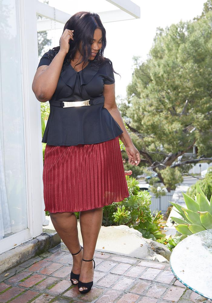 eb1abdb2f7 Asoph Plus Size Pleated Skirt | Asoph.com