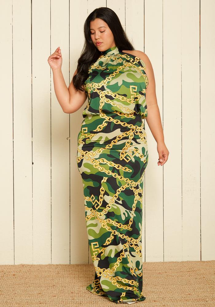 Asoph Plus Size Camo Maxi Blouson Dress | Asoph.com