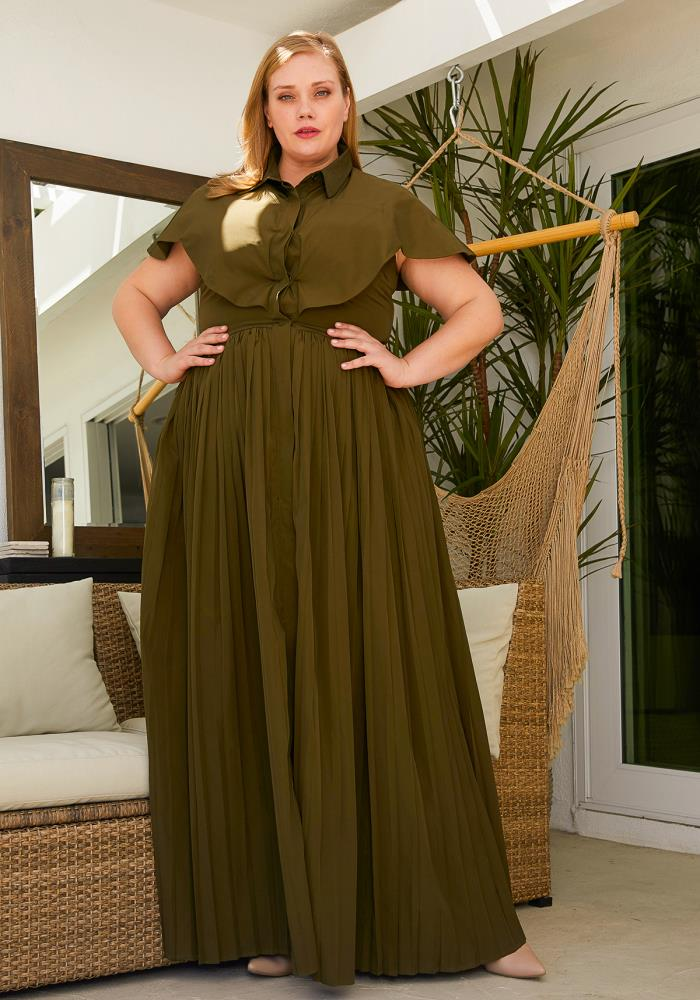 73304c05b Asoph Plus Size Pleated Maxi Dress | Asoph.com