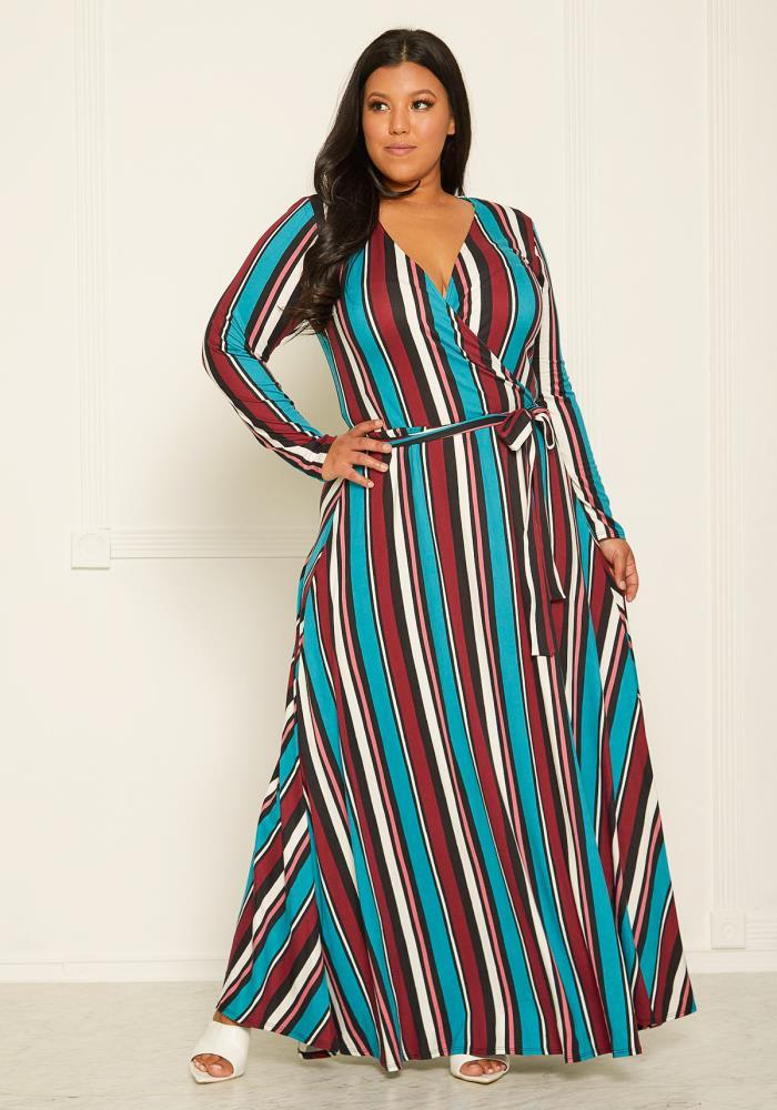 Asoph Plus Size Stripe Maxi Wrap Dress | Asoph.com