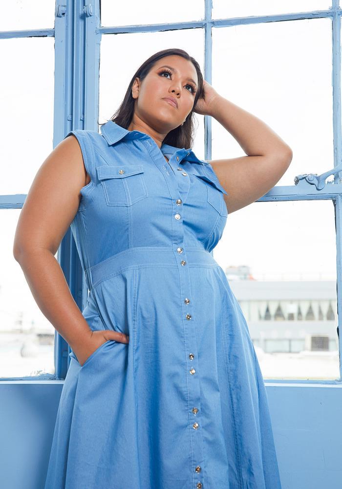 Asoph Plus Size Sleeveless Denim Maxi Dress | Asoph.com