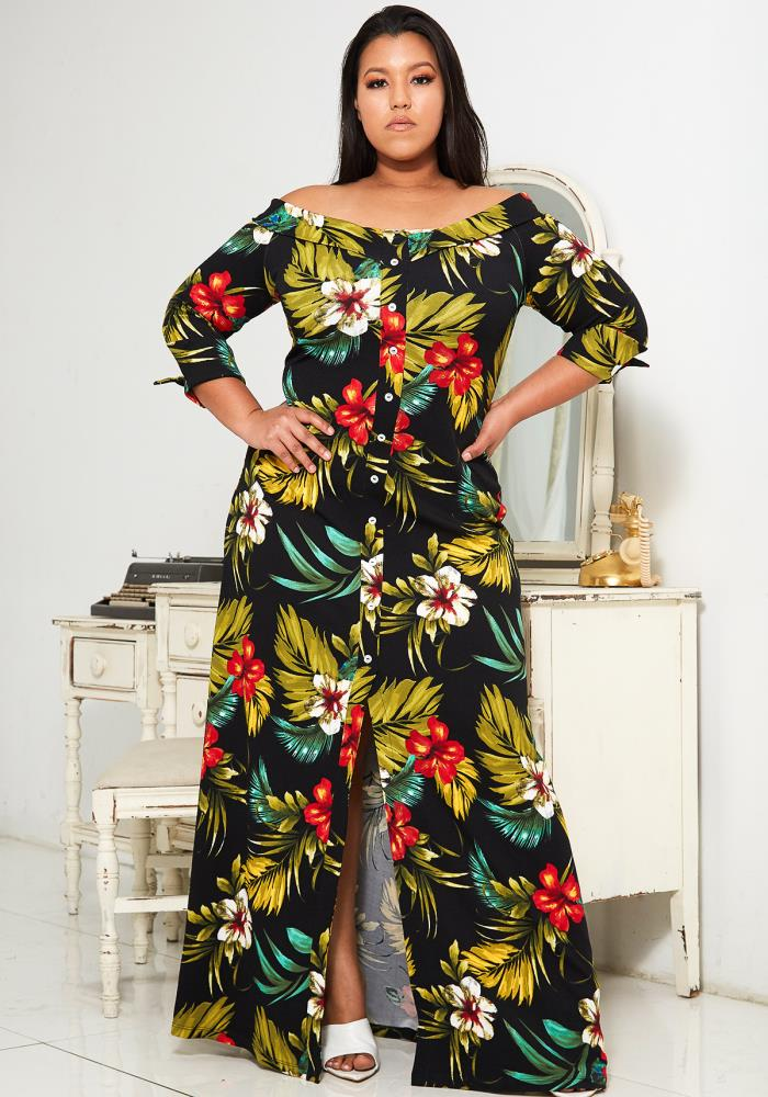 Asoph Plus Size Tropical Print Maxi Dress | Asoph.com