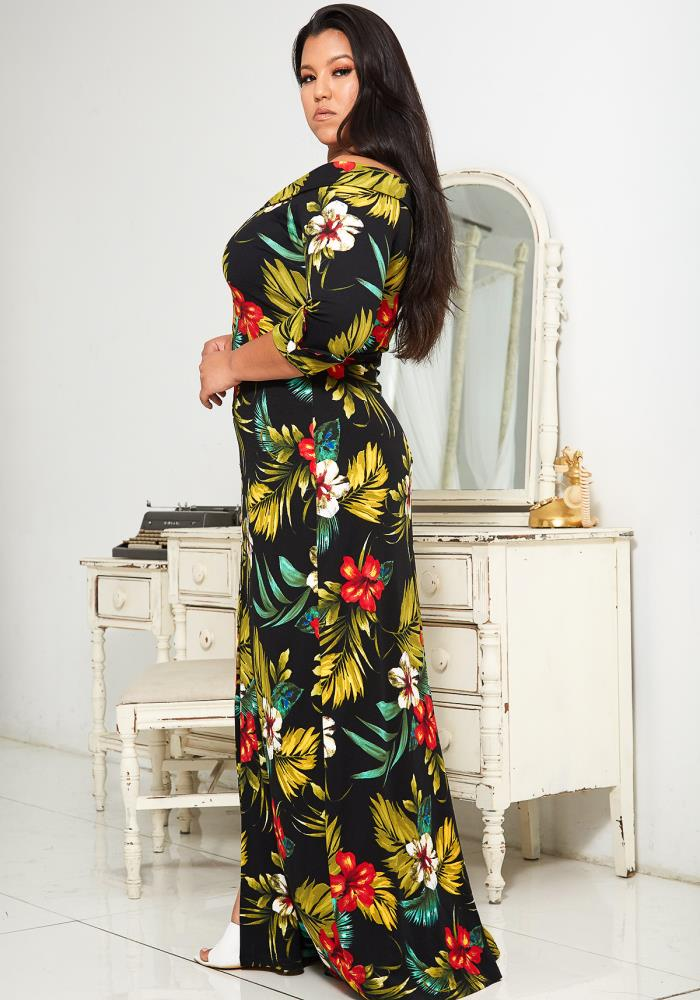Asoph Plus Size Tropical Print Maxi Dress | Asoph.com