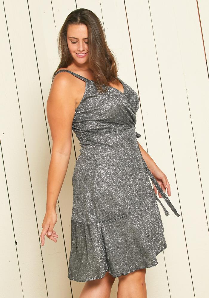 Asoph Plus Size Glitter Wrap Party Dress | Asoph.com