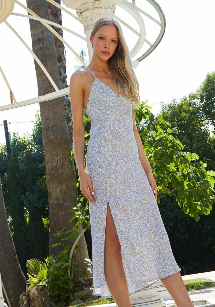 172969470 Tansy Ditsy Floral Slit Hem Dress | Asoph.com