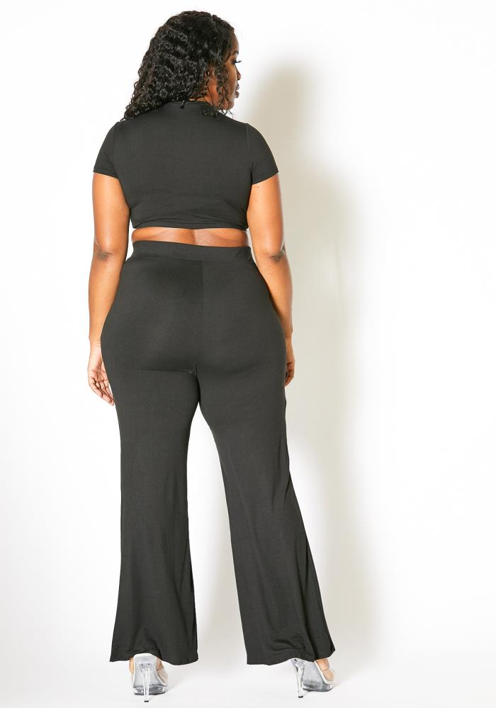 Asoph Plus Size Womens Knot Front Crop Top and Flare Pants ...