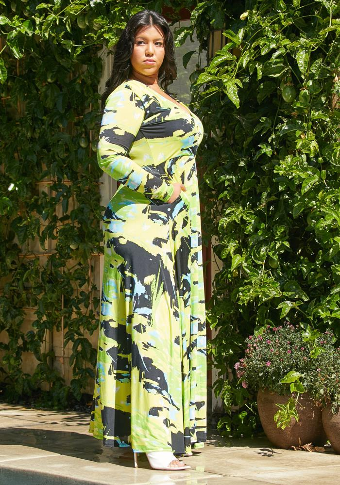 Asoph Plus Size Maxi Lime Dress | Asoph.com