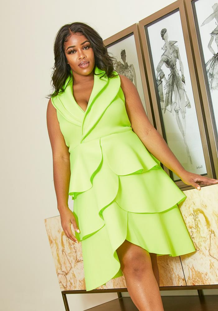 Asoph Plus Size Neon Tiered Petal Dress | Asoph.com