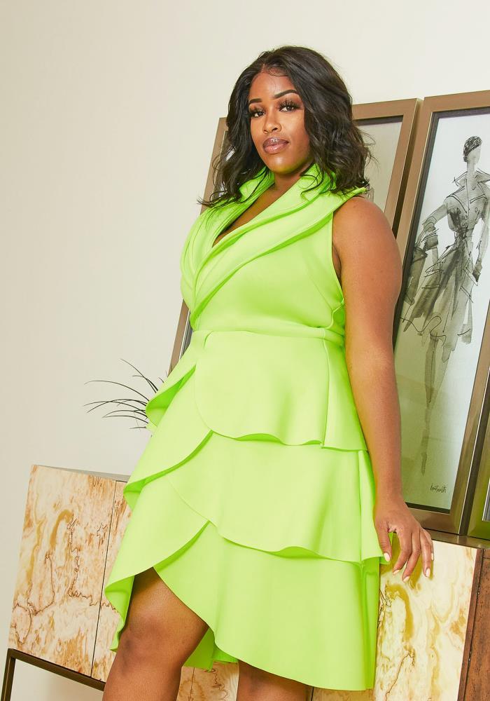 Asoph Plus Size Neon Tiered Petal Dress | Asoph.com