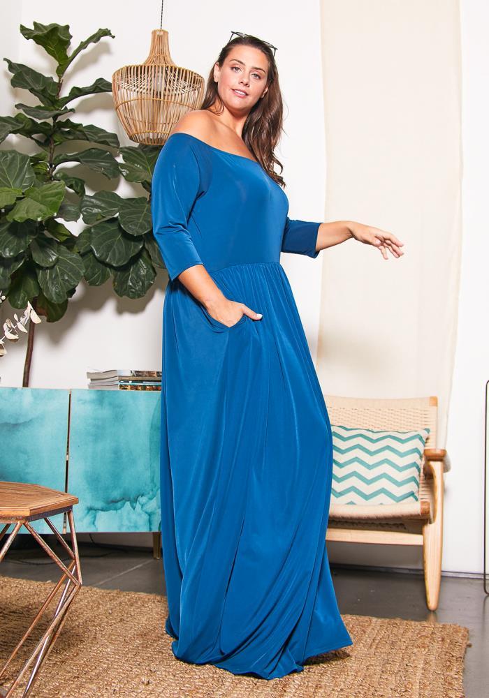 Asoph Plus Size Off Shoulder Royal Maxi Dress | Asoph.com