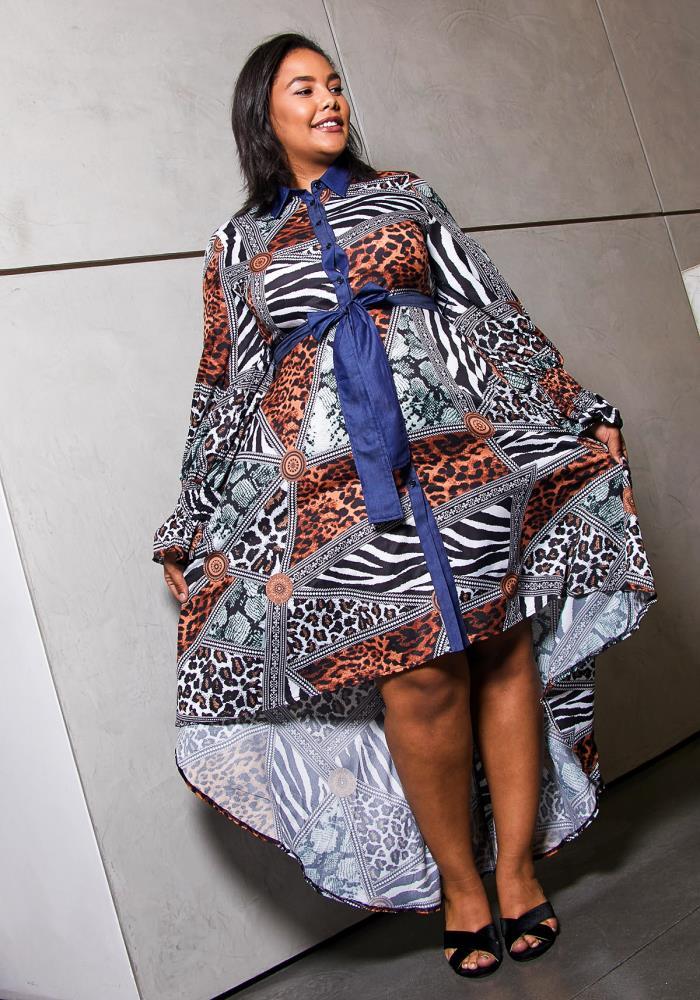 Asoph Plus Size Mix Print Hi Lo Maxi Dress | Asoph.com