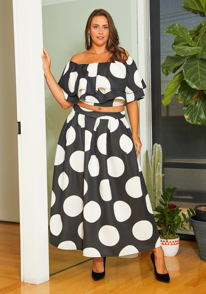 Asoph Plus Size Womens Polka Dot 80\'s Dress Set | Asoph.com