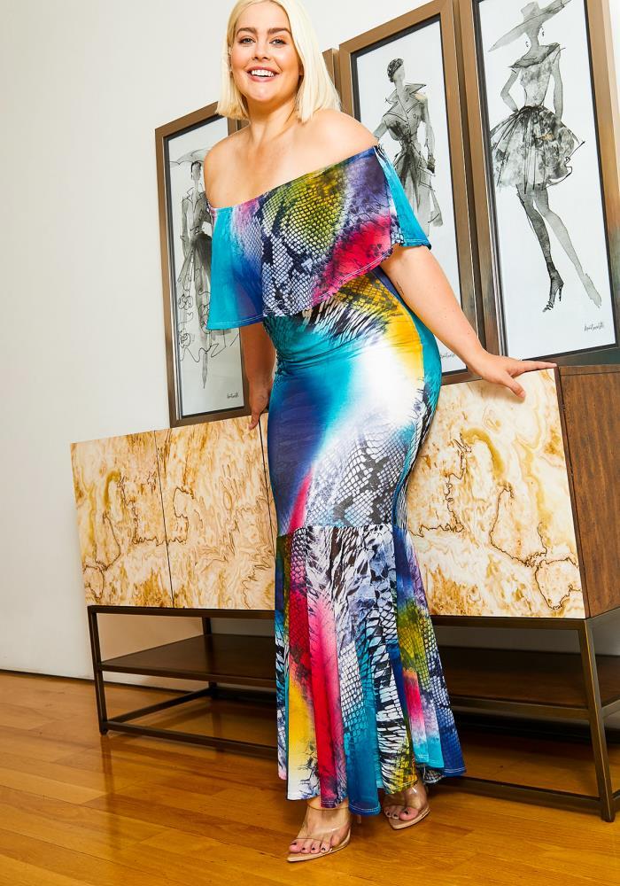 Asoph Plus Size Womens Vibrant Mermaid Maxi Dress | Asoph.com