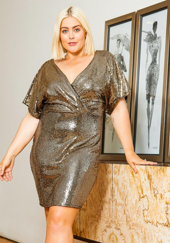Asoph Plus Size Disco Sequin Womens Surplice Dress | Asoph.com