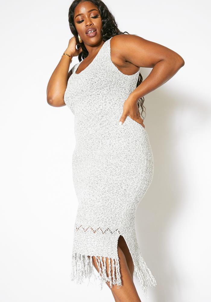Asoph Plus Size Comfy Knitted Womens Fringe Dress | Asoph.com