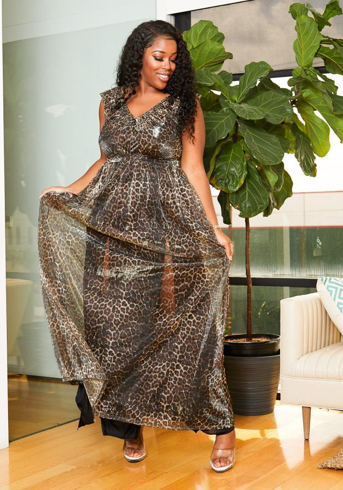 Asoph Plus Size Sheer Metallic Leopard Print Womens Maxi ...