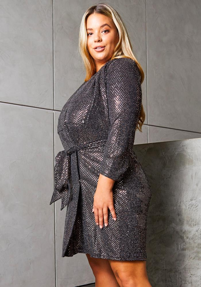 Asoph Plus Size Sparkle Sequin Women Wrap Dress | Asoph.com