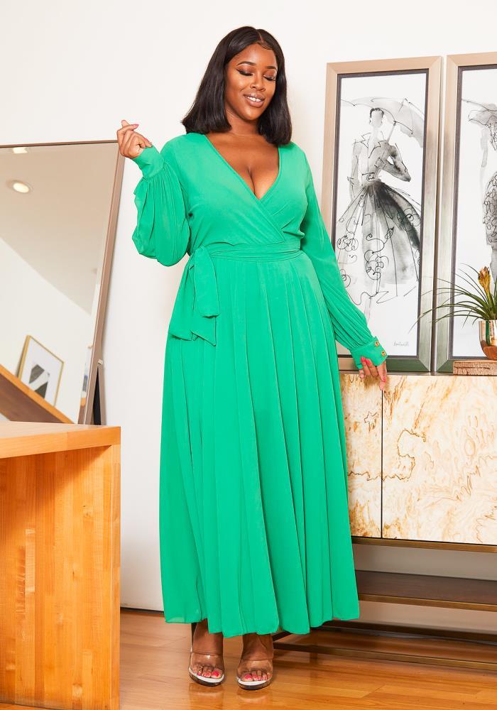 Asoph Plus Size Neon Vibes Chiffon Long Sleeve Women Maxi ...