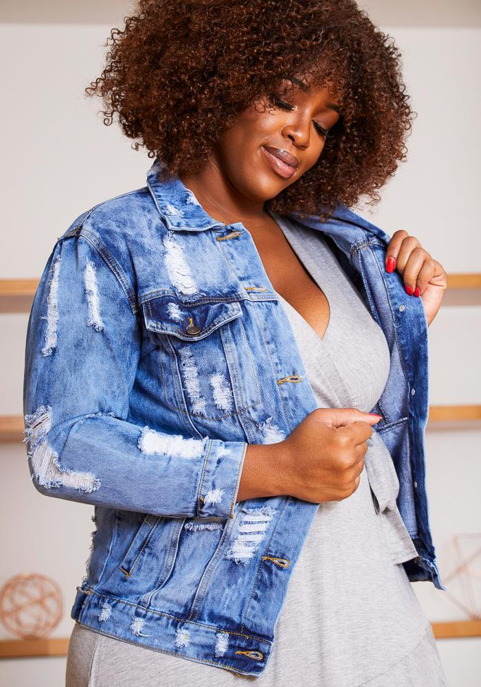 Asoph Plus Size Worldwide Fashion Tour Acid Washed Women Denim Jacket by Asoph